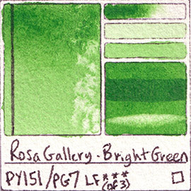 PY151 PG7 Rosa Gallery Bright Green Watercolor Paint Pigment Database Handprint Color Chart