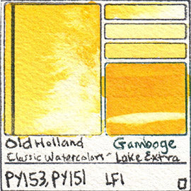 PY153 PY151 Old Holland Classic Watercolors Gamboge Lake Extra pigment swatch rare mineral paint art professional