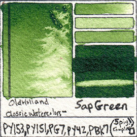 PY153 PY151 PG7 PY42 PBk7 Old Holland Classic Watercolors Sap Green pigment swatch rare mineral paint art professional