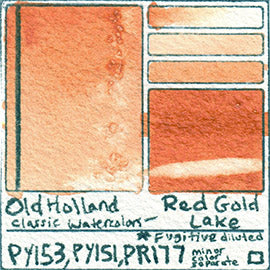 PY153 PY151 PR177 Old Holland Classic Watercolors Red Gold Lake pigment swatch rare mineral paint art professional
