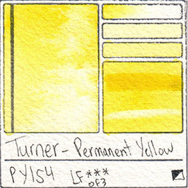 PY154 Turner Watercolor Permanent Yellow Color Art Pigment Database Swatch Card