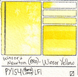 PY154 Winsor and Newton Professional Watercolor Winsor Yellow Swatch Card