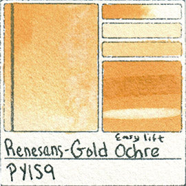 PY159 Renesans Watercolor Gold Ochre Color Chart Polish Professional Watercolour Godet