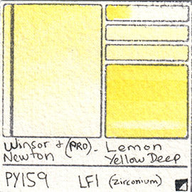 PY159 Winsor and Newton Professional Watercolor Lemon Yellow Deep Swatch Card