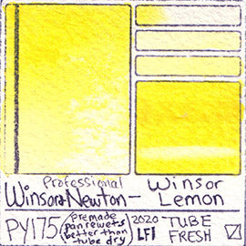 PY175 Winsor & Newton Watercolor Winsor Lemon Pigment Database Color Chart