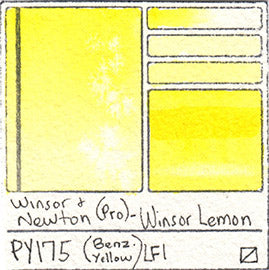 PY175 Winsor and Newton Professional Watercolor Winsor Lemon Yellow Swatch Card