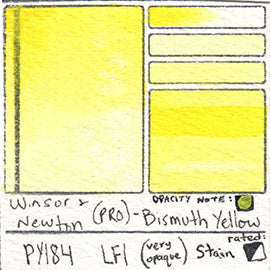 PY184 Pigment Winsor and Newton Professional Watercolor Bismuth Yellow Swatch
