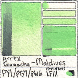 PY1 PG7 PW6 Arrtx Gouache Maldives Color Pigment Database Paint