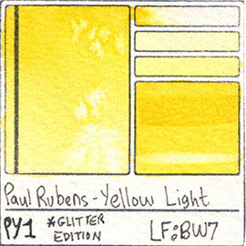PY1 Paul Rubens Hint of Glitter Pan Set Watercolor Yellow Light Swatch Card Color Chart