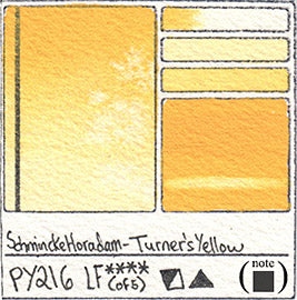 PY216 Schmincke Horadam Turner's Yellow Watercolor Swatch Card Color Chart