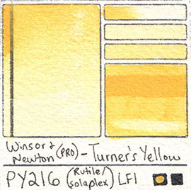 PY216 Winsor and Newton Professional Watercolor Turners Yellow Rutile Solaplex Pigment Database