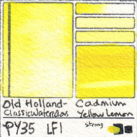 PY35 Old Holland Classic Watercolors Cadmium Yellow Lemon pigment swatch rare mineral paint art professional