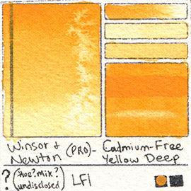 PY35 PR108 HUE Winsor and Newton Professional Watercolor Cadmium-Free Yellow Deep Swatch