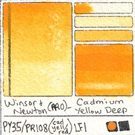 PY35 PR108 Winsor and Newton Professional Watercolor Cadmium Yellow Deep Color Chart
