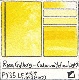 PY35 Rosa Gallery Watercolor Cadmium Yellow Light Handprint Art Pigment Swatch Color Chart