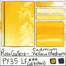 PY35 Rosa Gallery Watercolor Cadmium Yellow Medium Swatch Card Color Chart