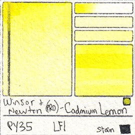 PY35 Winsor and Newton Professional Watercolor Cadmium Lemon Swatch Card