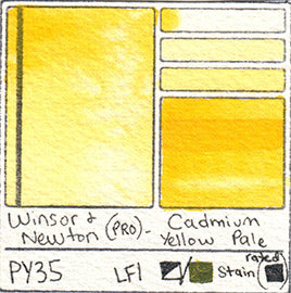 PY35 Winsor and Newton Professional Watercolor Cadmium Yellow Pale Swatch Card