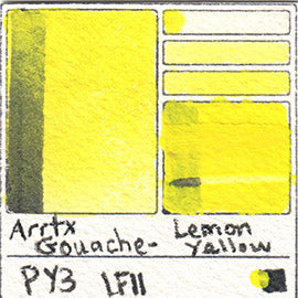 PY3 Arrtx Gouache Lemon Yellow Color Pigment Database Paint