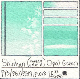 PY3 PG7 PG19 PW18 Shinhan Korean Color A Opal Green Watercolor Swatch Card Color Chart