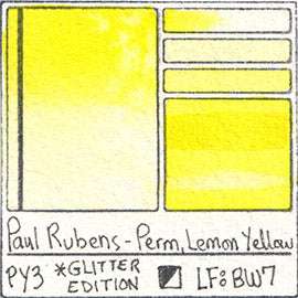 PY3 Paul Rubens Hint of Glitter Pan Set Watercolor Permanent Lemon Yellow Swatch Card Color Chart