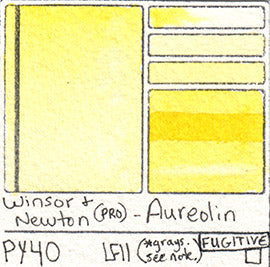 PY40 Winsor and Newton Professional Watercolor Aureolin Fugitive LFII Fading Lightfast Test