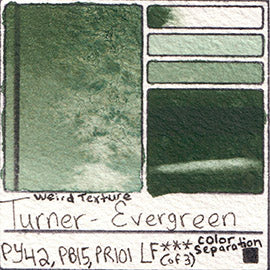 PY42 PB15 PR101 Turner Watercolor Evergreen Color Pigment Database Swatch Card