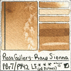 PY42 PBr7 Rosa Gallery Watercolor Raw Sienna Handprint Pigment Database Color Chart Swatch Card