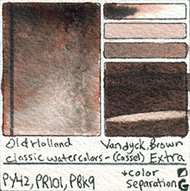 py42 pr101 pbk9 Old Holland Vandyck Brown Cassel Extra watercolor paint granulating color separation