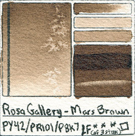PY42 PR101 PBk7 Rosa Gallery Watercolor Mars Brown handprint database color chart Pigment