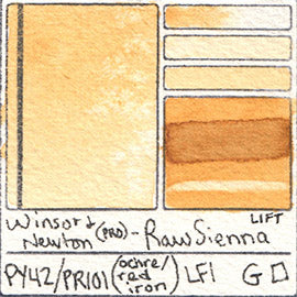 PY42 PR101 Winsor and Newton Professional Raw Sienna Watercolor Swatch Card Color Chart