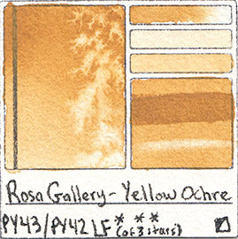 PY43 PY42 Rosa Gallery Watercolor Yellow Ochre Art of Pigment Handprint Database Color Chart Swatch Card
