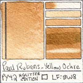 PY42 Paul Rubens Hint of Glitter Pan Set Watercolor Yellow Ochre Swatch Card Color Chart