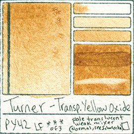 PY42 Turner Watercolor Transparent Yellow Oxide Color Art Pigment Database Swatch Card