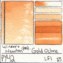 PY42 Winsor and Newton Professional Gold Ochre Watercolor Swatch Card Color Chart