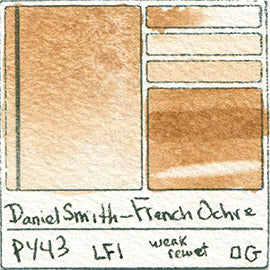 PY43 Daniel Smith Watercolor French Ochre pigment dip pen swatch card color colour database