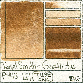 PY43 Daniel Smith Watercolor Goethite Color Pigment Granulating Swatch Database Card
