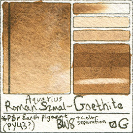 PY43 Roman Szmal Aquarius Watercolor Goethite Color Swatch Granulating