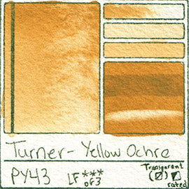 PY43 Turner Watercolor Yellow Ochre Color Art Pigment Database Swatch Card