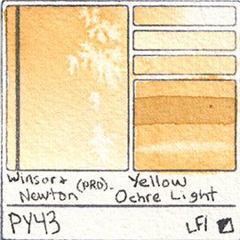 PY43 Winsor and Newton Professional Yellow Ochre Light Watercolor Swatch Card Color Chart