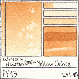 PY43 Winsor and Newton Professional Yellow Ochre Watercolor Swatch Card Color Chart