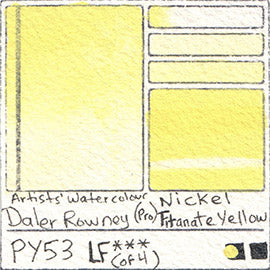 PY53 Daler Rowney Professional Watercolor Nickel Titanate Yellow Pigment Database Color Chart