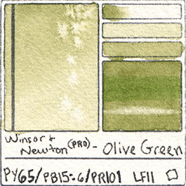 PY65 PB15:6 PR101 Winsor and Newton Professional Olive Green Watercolor Swatch Card Color Chart