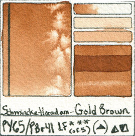 PY65 PBr41 Schmincke Horadam Watercolor Gold Brown Pigment Database Swatch Card