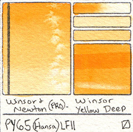 PY65 Winsor and Newton Professional Watercolor Winsor Yellow Deep Hansa Swatch Pigment Database