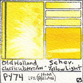 PY74 Old Holland Classic Watercolors Schev Yellow Light pigment swatch rare mineral paint art professional