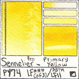 PY74 Sennelier Professional Watercolor Primary Yellow Pigment Database Color Chart