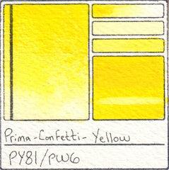 PY81 Prima Art Philosophy Confetti Yellow Watercolor Swatch Card Color Chart