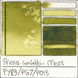 PY83 PG7 PO13 Prima Art Philosophy Confetti Moss Watercolor Swatch Card Color Chart