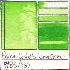 PY83 PG7 Prima Art Philosophy Confetti Lime Green Watercolor Swatch Card color chart